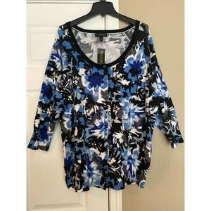 Lane Bryant 3/4 Sleeve Blue Floral ButtonCardigan